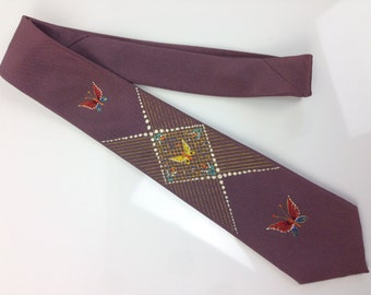 1950's BUTTERFLY Hand painted Tie