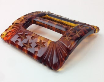 1930'S LUCITE Tortoiseshell Belt Buckle / Large Hand Carved Buckle / with STARS