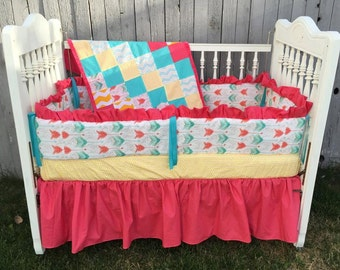 Pink and Yellow with tulips Baby Bedding/ Baby Crib Set