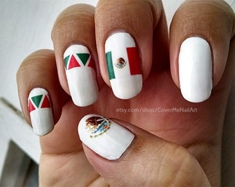 Cinco de Mayo - Water Slide Nail Decals with flags