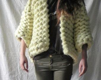 SALE Handknit, Chunky, Small, Medium, Oversized Cardigan, Merino Wool Jacket, 3/4 Sleeve Cardigan, Fall Jacket, Light Yellow, Wool Outerwear