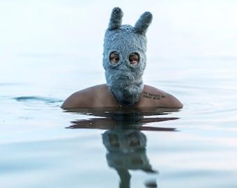 GREY BUNNY MASK - Fun Festival Ski Mask - Fuzzy Socky Balaclava for Men and Women - Surreal Mask - Cotton Knit Beanie - Rabbit Ears -  Gift