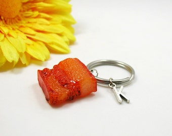 Personalized Keychain - Custom Keychain - Initial Key Chain - Bacon Key Chain - Initial Key Ring - Personalized Gift - Father's Day Gift