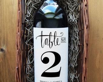 Wedding Wine Table Number - Wedding Wine Bottle Table Number - Wine Table Number - Wine Bottle Table Number - Pack of 4 Labels