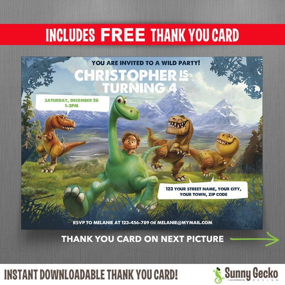 Disney the good dinosaur 7x5 in birthday party invitation with il570xn stopboris