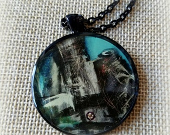 Art Necklace, Teal Pendant, Photo Pendant, Pendant Necklace, Statement Necklace, Resin Jewelry, Gifts for Her, Wearable Art, ARTBYSANDRAV