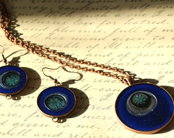 Blue Art Jewelry Set, COSMOS, Hand painted, Copper, Resin Jewelry, Abstract Art,Gifts for Her, Glitter Jewelry, Wearable Art, ARTBYSANDRAV
