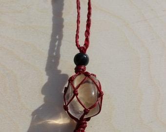Smokey quartz and polished Garnet Macrame Necklace