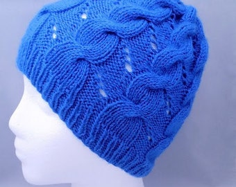 Knitted hat for women, Knit blue hat, knit beanie, knit cable hat