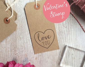 Love You Valentine's Heart Stamp