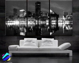 """LARGE 30""""x 60"""" 3 Panels Art Canvas Print Beautiful Baltimore skyline at night light buildings Wall Home (Included framed 1.5"""" depth)"""