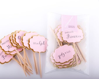 Baby Shower Cupcake Toppers Gold And Pink Decorations. Pink And Gold Baby  Shower Cupcake Toppers