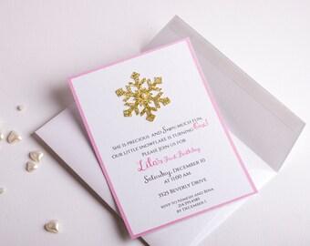 Winter ONEderland Invitations, Girl First Birthday Invitation, Winter Wonderland Party Invitation, Glittered Snowflake Invites