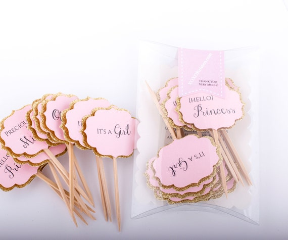 Baby Shower Cupcake Toppers Gold and Pink Decorations. Pink and Gold Baby Shower Cupcake Toppers. Baby Girl Shower Decoration 12CT