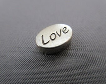 Two-Sided Love / Heart Message Bead .925 Sterling Silver