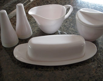 1960s Melmac Royalon Condiment Set, Vintage White Salt & Pepper Sugar and Creamer Butter Dish Set, Retro Kitchen
