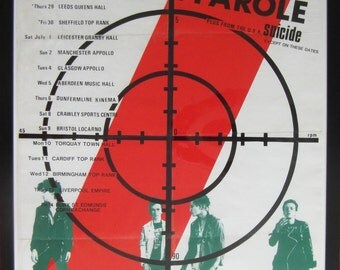 Rare Original 1978 'The Clash On Parole'  UK Tour Poster. Conservation Framed.
