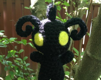 Kingdom Hearts Inspired: Shadow Heartless Plushie/Keychain (in Amigurumi style)! Made to Order!