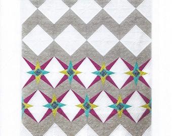 Chevron Star Quilt Pattern, Modern Quilt Pattern, Freshly Pieced Quilt Pattern, Paper Pieced Quilt Pattern, FP 113