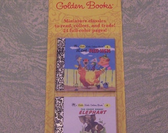 Original package 1993 Western Publishing Co. Little Little Golden Books miniature The Little Red Hen The Saggy Baggy Elephant