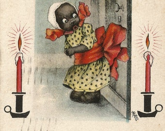 Vintage black girl memorabilia humorous Christmas postcard digital download printable instant image