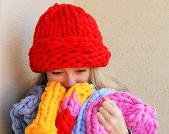 SALE Very thick and cozy, soft hat, red acrylic, warm accessories, autumn, winter, Christmas gift
