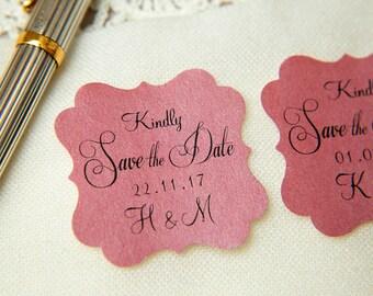 Raspberry Pink Printed Save The Date seals. Custom printed Wedding stickers. personalised Pearlised Envelope seals. Wedding favours