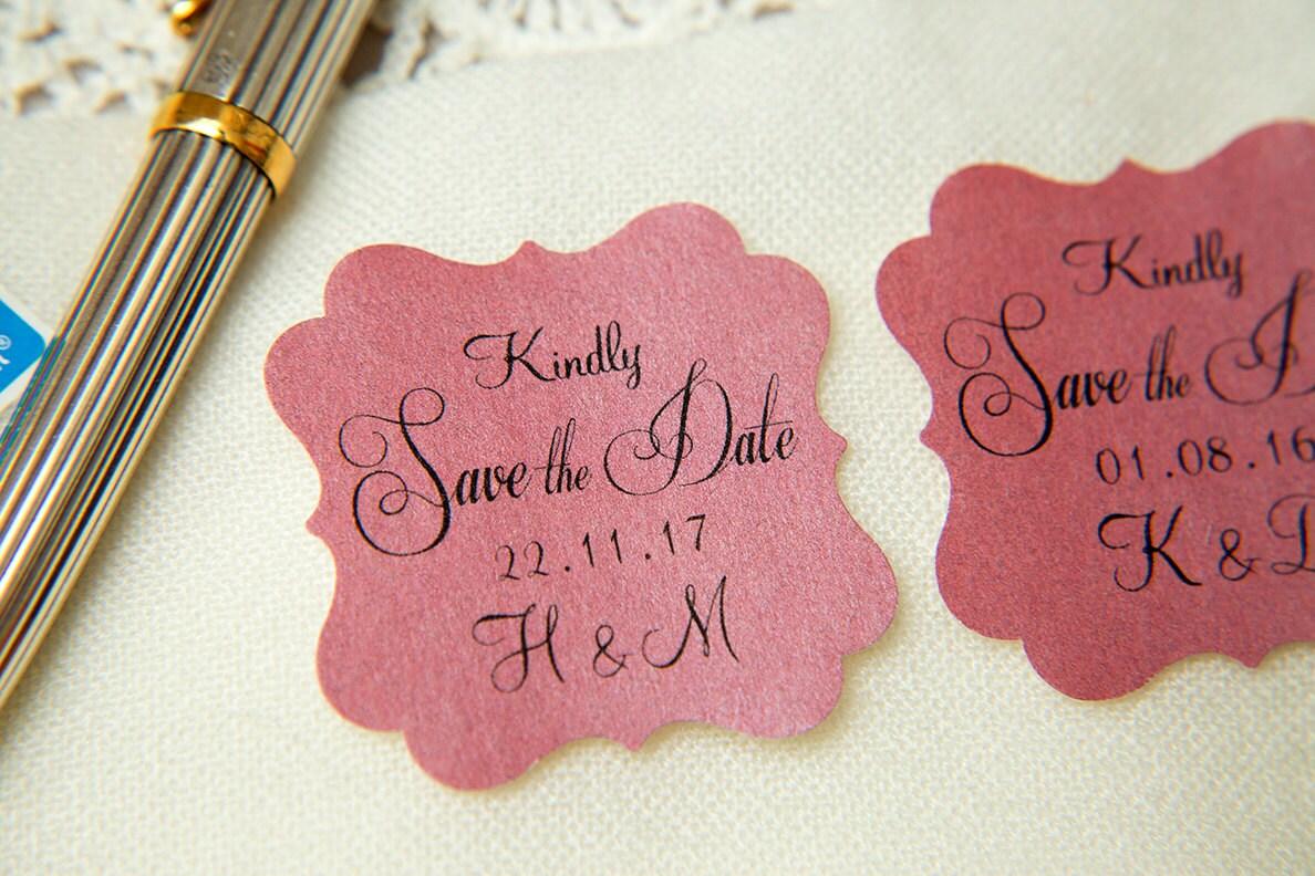 Raspberry Pink Printed Save The Date seals. Custom printed Wedding ...