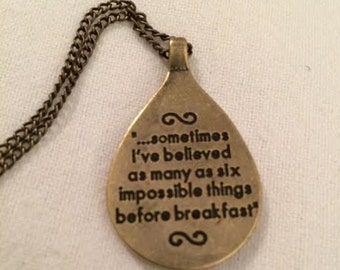 Alice in Wonderland Before Breakfast Pendant Necklace