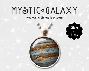 Planet Jupiter Necklace, Planet Jupiter Pendant with Chain