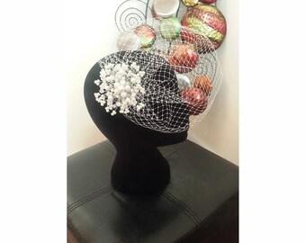 Wedding Birdcage veil with Pearls, Wedding Hair Accessory,Pearl birdcage, Bridal Birdcage veil, white Birdcage Veil, Bridal Hair Accessories