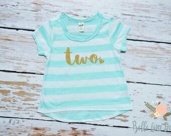 Two with Heart Ice Green Stripe Toddler Shirt | Second Birthday | Gold Glitter Second Birthday Shirt | Girl's Toddler Birthday Tshirt | 056