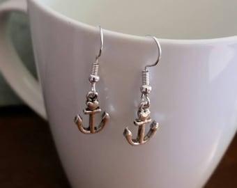 Silver Heart Anchor Charm Dangle Earrings