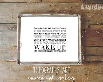 "Coheed and Cambria Lyrics Typography Digital Art Print - ""Wake Up"""