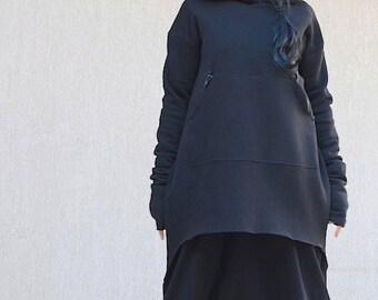 Asymmetrical hoodie, oversized hoodie, extravagant hoodie, loose hoodie top, oversize hoodie, long sleeves hoodie, boho hoodie, black hoodie