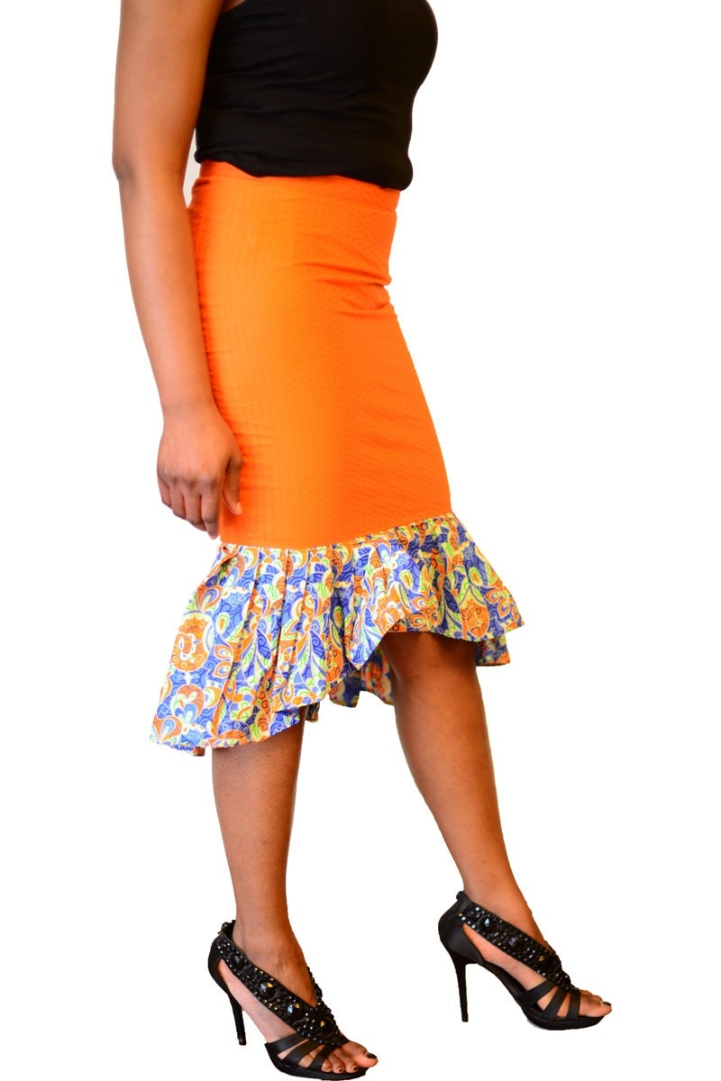 orange hi low flounce skirt by tradsloft on etsy
