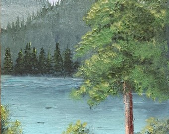 "Original ACEO mountain landscape oil painting MOUNTAIN LAKE 2.5 x 3.5"""