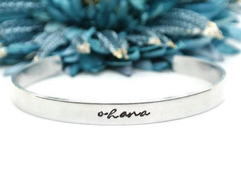 Ohana Hand Stamped Cuff Bracelet | Ohana Means Family | Mom Gift | Sister Gift | Aluminum Jewelry | Mothers Day Gift | Ohana Bracelet