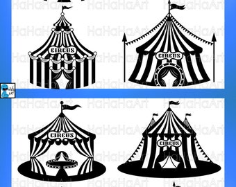 Circus Tent Monogram Black - Cutting Files Svg Png Jpg Eps Dxf Digital Graphic Design Instant Download Commercial Use Cut Carnival (00624c)