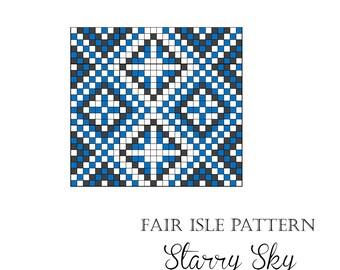 """Folk knitting pattern """"Starry sky"""""""
