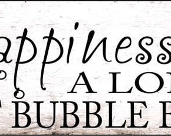 Happiness is a Long Hot Bubble Bath Metal Sign, Bath Décor, Home Decor, Wall Hanging  HB7682