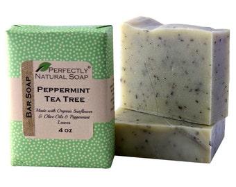 Peppermint Tea Tree All Natural Artisan Handmade Soap, 4 oz