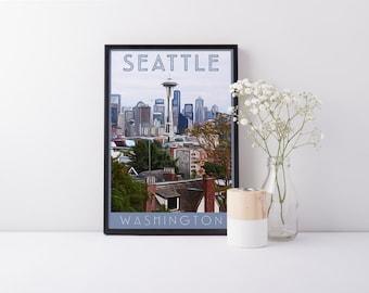 Print - Seattle, Washington - Digital Art