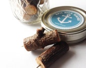 Rustic Wood Twig Push-pins With Jar