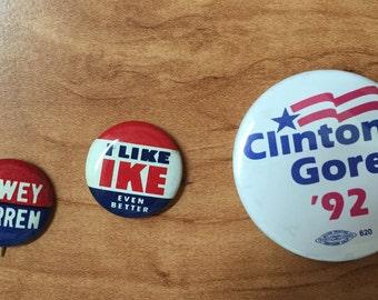 Vintage political campaign buttons-Dewey, Warren, Ike/Eisenhower, Clinton, Gore-free shipping