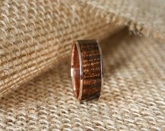 Mens Wooden Wedding Band With 14k Rose Gold Inlaid Exhibition Grade Hawaiian Koa Wood