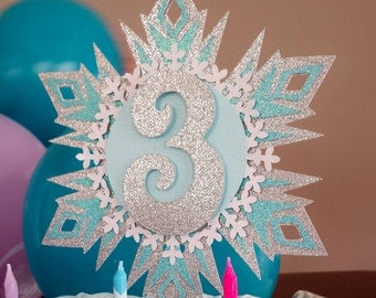 Frozen cake topper. Sparkly Snowflake cake topper. Frozen birthday.  Winter wonderland party.  Blue, silver, white.  Any color!