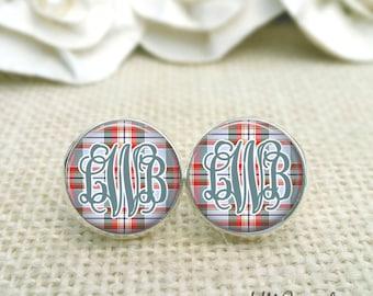 Monogram Earrings, Plaid Earrings, Flannel Print Earrings, Monogrammed Studs, Gift for Her, Gift Under 20