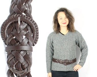 Vintage 80s Faux Leather belt Brown Braided Woven Boho Gypsy