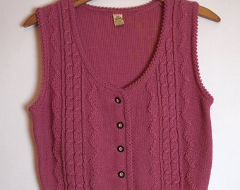 Vintage 70s Mauve Knit Sweater Vest, Cable Knit, Button down, Women's